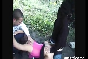 Brunette fucked in forest