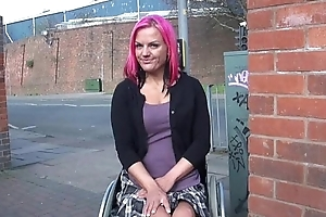 Wheelchair bound Leah Amour propre in uk shiny and alfresco nudity