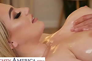Crabby America - Blake Bloom shows off her big tits added to wet pussy to her hunky masseur