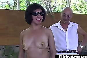 Mistress dominates the outdoor orgy