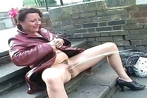 Upskirt public masturbation and nude open-air flashing of uk mature amateur