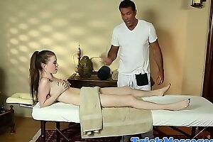 Sexy teen throat fucked hard by pretty masseur