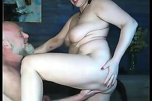 Real mature couple Addams-Family dear one in their suburban house_ sucking nipples, dick and hard fisting!