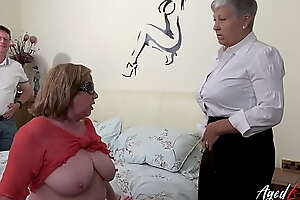 AGEDLOVE Two Busty British Matures Fuck Several Dick