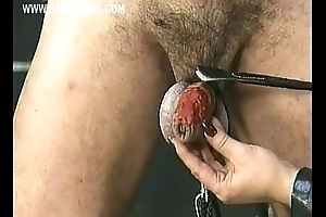 Fuzz ball poppet wearing leather drips hot candle wax surrender improper slave his cock with the addition of balls