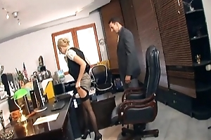 Secretary having it away round stockings together with stilettos