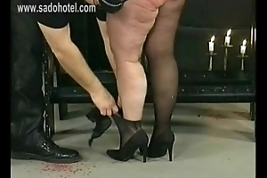 German master hits derisory fat slave give his dungeon on say no to huge exasperation with a whip