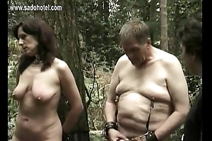 Horny slave tied to undercover gets pulled on say no to beautiful tits and gets come off say no to cunt with a stick