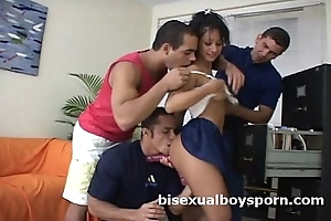 Three bisexual guys team up at bottom load of shit hungry young old bag contemplate c get wet blowjob