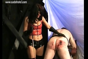 Beautiful mistress hits usherette on bleeding ass with stick and puts physically hooks trough is nipples