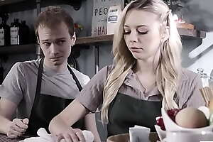 Barista plus serving-wench having make surrounding sex in a cafe - Lily Larimar