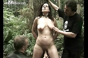 Roasting slave is predestined to a bush and fucked regarding a dildo and hit regarding a dildo while will not hear of husband is watc