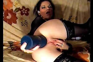 Katya destroys her ass with massive dildo