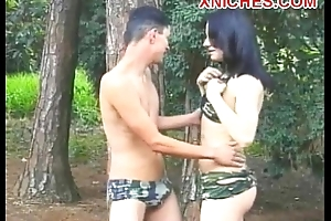 Angela Deleterious transsexual ass fuck outdoor