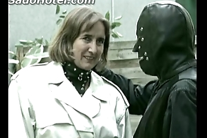 Older german lady slave is ID card herself while her versed encircling latex suit is watching