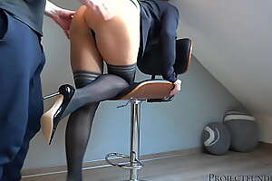 facility manager uses his X-rated womanlike boss - uneaten with a muddied creampie pussy in hold-ups stockings - projectfundiary