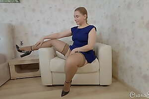 Upskirt fetish. stockings, heels and buttplug 2. A difficulty chairman