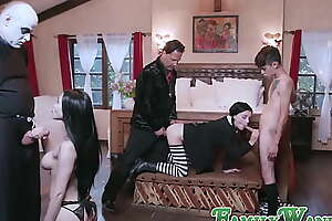 Naughty Addams background at its finest in naughty wild orgy