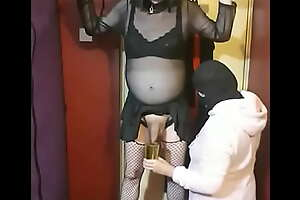 girlfriend of crossdressing stress ties her sissy up sucks his cock then gets him to swollow his acquiesce piss by drinking it in foreign lands of a glass
