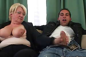 Two dudes share blonde old grandma