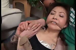 Japanese mom fucked by two strangers while son watch and in fine fettle fuck her