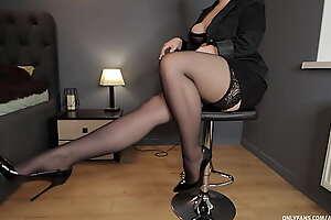 School teacher handjob in stockings high heels naughty student