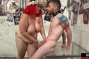 BBW femdom humiliates sub before support c substance his cock