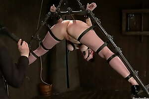 Dyke strapped beside device gets flogged