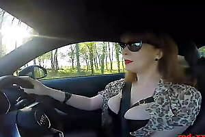 British mature Red fingers her cunt in the car ever after