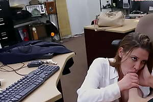 Busty pawnshop milf blowing employer before sex