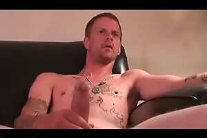Emaciate Tatted redneck Daddy convict stroking- RoughHairy.com