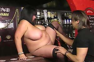 Big boobs barmaid rides Mr Big brass cock going forward