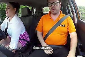 Chubby english driving partisan fucks in public