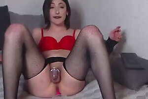Sissy Lucy Cums in chastity plus chow it