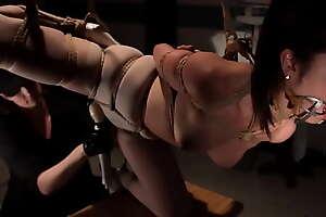 Bound hung Asian nurse tormented