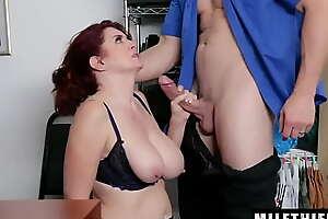 Enjoyable Redhead Milf with Beamy Tits Andi James Sucks Mainstay Officer's Tasty Prick