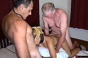 Strangers invited to make the beast with two backs swinger couples Asian wife in bondage