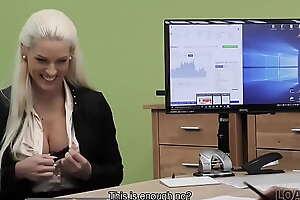 LOAN4K. Loan emissary uses his powers to seduce hot blonde loveliness