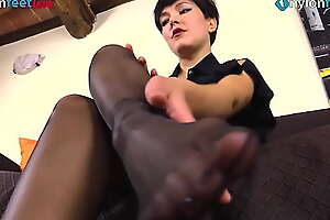 Babe on every side black pantyhose takes boots off and shows limbs