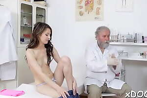 Roused brunette Licie demonstrates oral skills