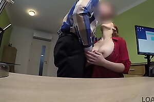 LOAN4K. Redhead has spontaneous sexual connection in along to office with loan agent