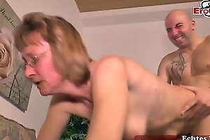 Librarian granny milks cock for be in love with