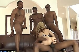 Exasperation banged milf surrounded by diabolical dicks