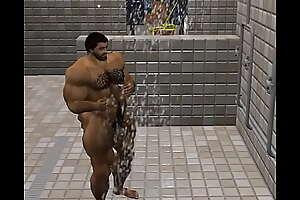Odrick in football shower