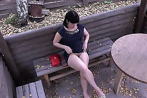Voyeur on every side a stifling camera spying on brunette outdoor. Public pissing and hairy pussy masturbation. Fetish compilation.