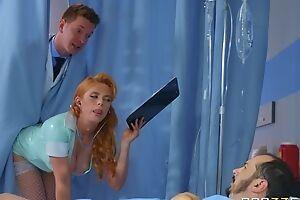 Horny Russian doctor fucks redhead nurse in the nuisance