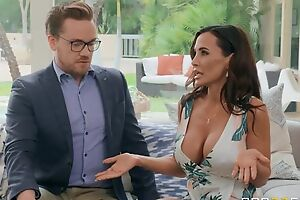 Tanned grown-up with obese tits and ass gets boned on the couch