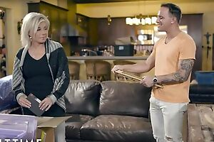 Blonde-haired full-grown pleases tattooed dude on go to ground couch