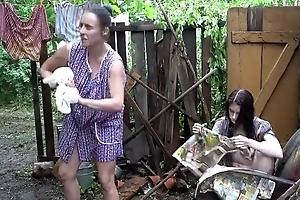 Filthy backstage perverse in the garden interdict coitus