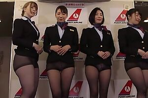Group of Asian stewardesses getting fucked good and too bad